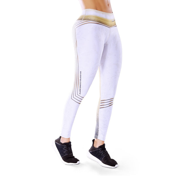 Shape Concept Colombian Workout high Waisted Leggings | Compression Tight Crossfit Yoga Pants Golden SCL003