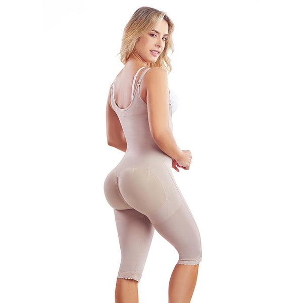 Fajas Colombianas body shaper 068 Girdle With 2 Line Hooks Closure, Semi Covered Back, Knee Lenght, Butt Lifting Effect - Fajas Colombianas | Colombian Shapewear