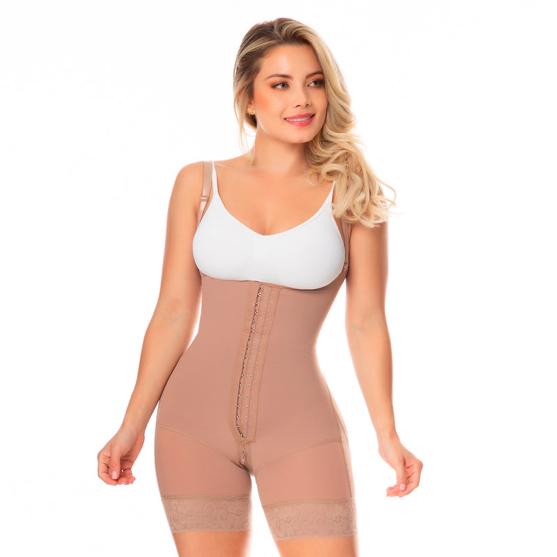Fajas Colombianas body shaper 057 girdle with front zipper, covered back, free breasts, butt lifting