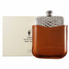 6oz Hammered Hip Flask & Tan Leather Pouch