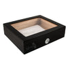 A black polish lacquered humidor for 20 cigars and a glass top