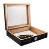 A 20 cigar capacity Wooden humidor finished in black lacquer and with a glass top