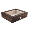A brown stained wood humidor for 20 cigars with a glass top