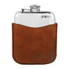 PLF02 6oz Pewter Flask With Leather Pouch