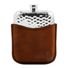 A 6oz Pewter Hammered Hip flask & Tan Leather Pouch by the English Pewter Co.