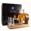 A 35cl Barrel and Tap whisky decanter handblown by the Stylish Whisky Co.