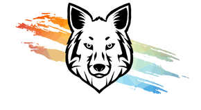 Mutt Pack Outfitters Logo. White wolf head on three rainbow claw marks. Dog gear for the wild-hearted.