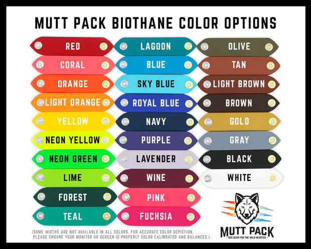 BioThane Color Options by Mutt Pack Outfitters