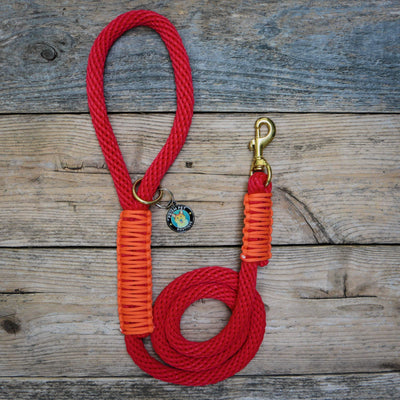Red Nova Rope Leash Dog Leash - Mutt Pack Outfitters