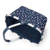 carrybag spots navy shopping or picnic basket side view