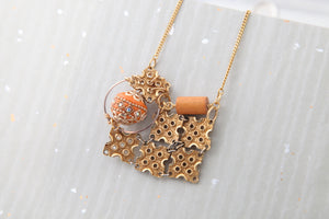 Farheen Ali-Orange and gold necklace