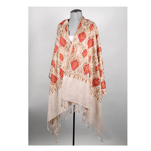 Cream Embroidered Shawl