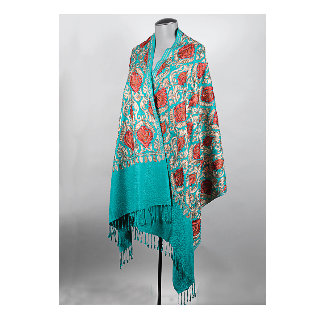 Green Embroidered Shawl
