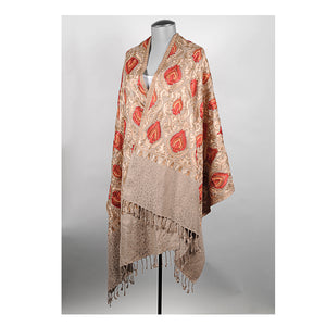 Gold/Beige Embroidered Shawl