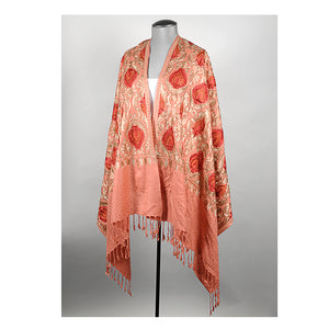 Coral Embroidered Shawl
