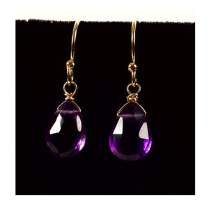 Azki Jewelry - Small Briolette Earrings - Amethyst
