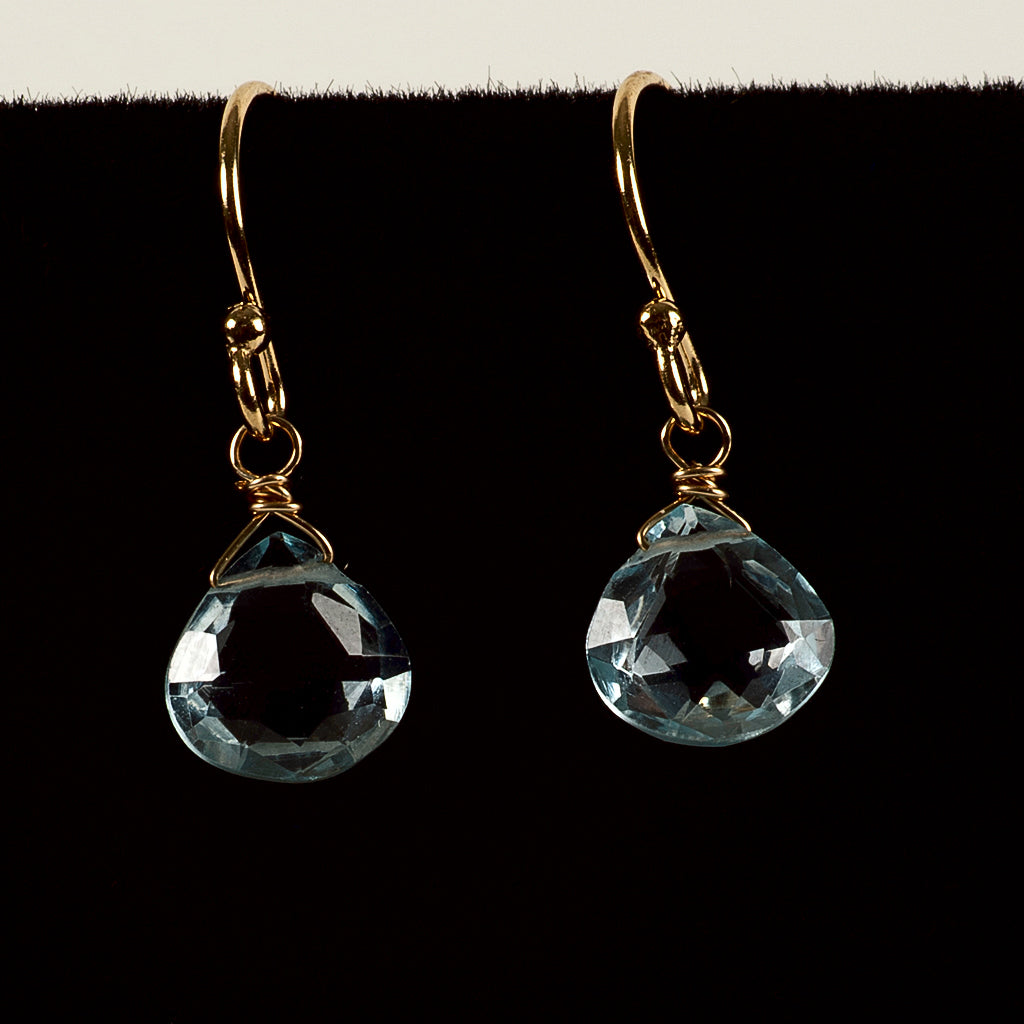 Azki- Small Briolette Earrings - Blue Topaz