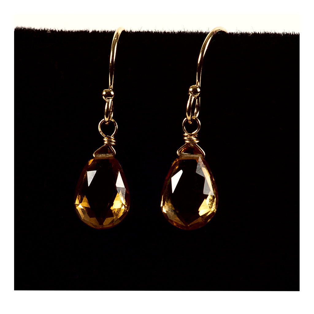 Azki- Small Teardrop Earrings - Citrine