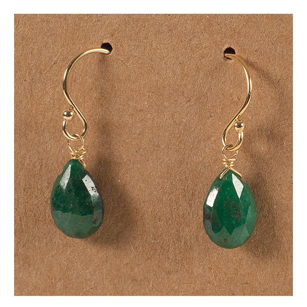 Azki - Small Teardrop Earrings - Emerald