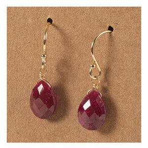 Azki- Small Briolette Earrings - Ruby