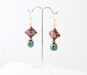 Farheen Ali-Floral red and green pearl drop earrings