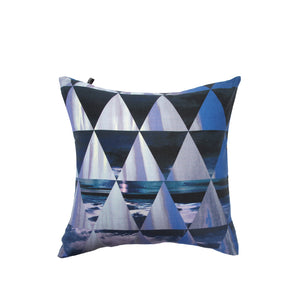 JUMA- Blue Geometric Triangle Square Pillow