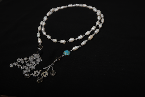 Pearl Tie Necklace with Tassels and Calligraphy Endings by Nadia Dajani