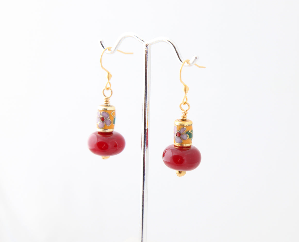 Farheen Ali-Red glass and floral bead earring