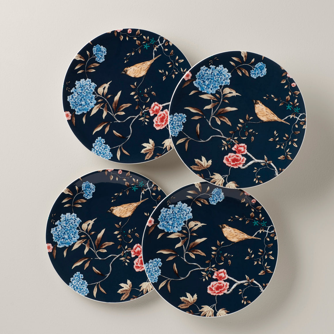 Spring Vine Navy Tidbit Set of 4 Plates