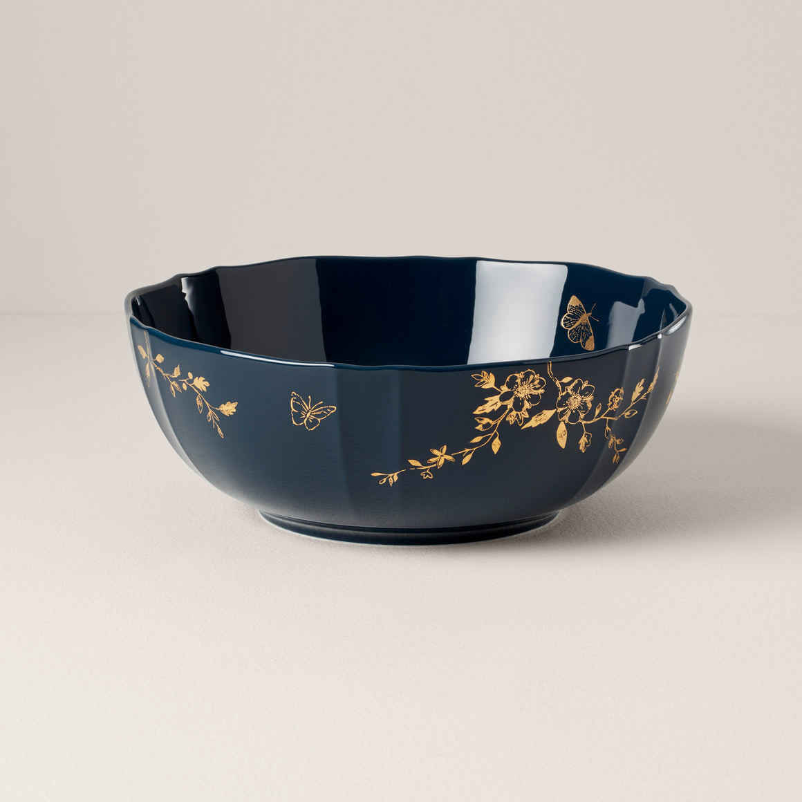 Spring and Vine Serving Bowl Navy