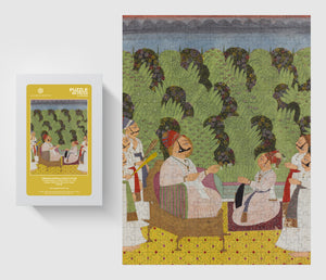 Aga Khan Museum 300 piece puzzle-Maharaja presenting a sarpech to his son