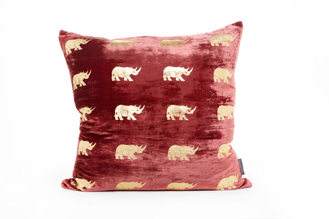 VELVET RHINO CUSHION - LARGE RED
