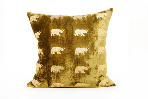 VELVET RHINO CUSHION - LARGE GOLD