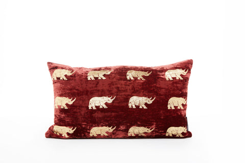VELVET RHINO CUSHION - SMALL RED