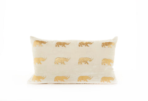 VELVET RHINO CUSHION - SMALL WHITE