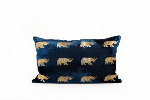 VELVET RHINO CUSHION - SMALL BLUE