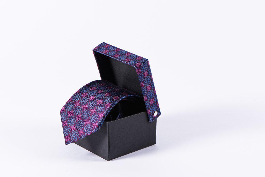 AGA KHAN MUSEUM MONOGRAM TIES -Sky Blue and Fuschia