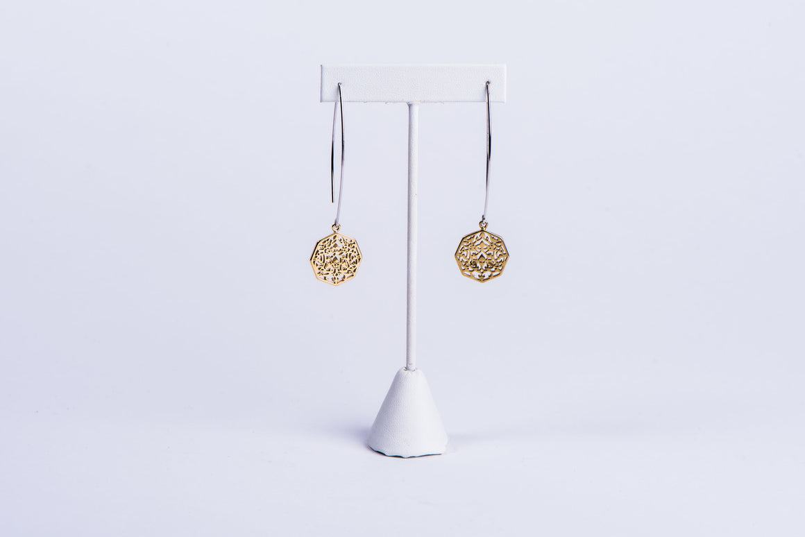 NADIA DAJANI - EARRINGS - GOLD-PLATED ARABESQUE OCTAGONS
