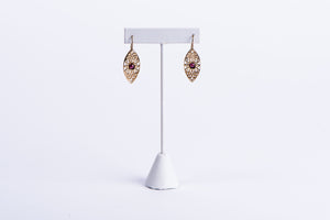 NADIA DAJANI - EARRINGS - GOLD-PLATED ARABESQUE WITH GARNET STONES