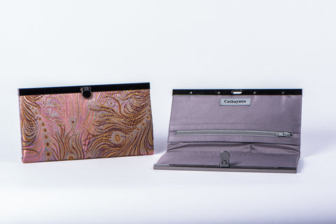 CATHAYANA - WALLET - LIGHT PINK/GOLD FEATHERS