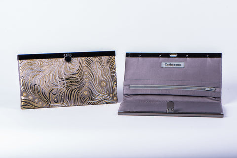CATHAYANA - WALLET - TAUPE/GOLD FEATHERS