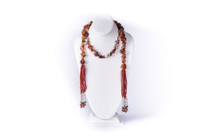 NADIA DAJANI - NECKLACE - AGATE AND CORAL WITH STERLING SILVER ON TASSELS