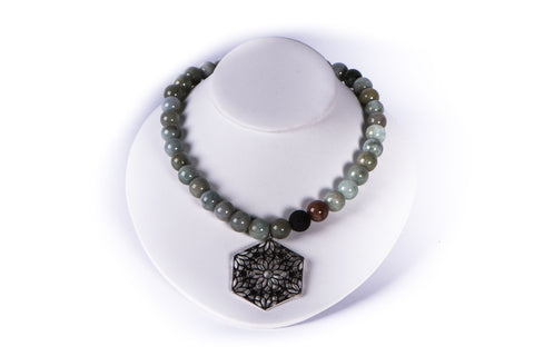 NADIA DAJANI - NECKLACE - BURMESE JADE, LAVA, ROSE QUARTZ WITH STERLING SILVER PENDANT