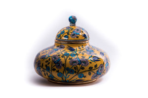 LALEZAR - IZNIK YELLOW FLORAL PATTERN JAR