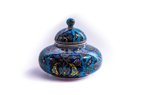 LALEZAR - IZNIK YELLOW/GREEN RUMI PATTERN JAR