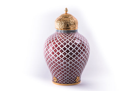 LALEZAR - IZNIK RED/WHITE PATTERN VASE WITH LID