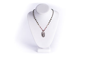 AZKI JEWELLERY - NECKLACE - WATERMELON TOURMALINE WITH GEODE SLICE PENDANT