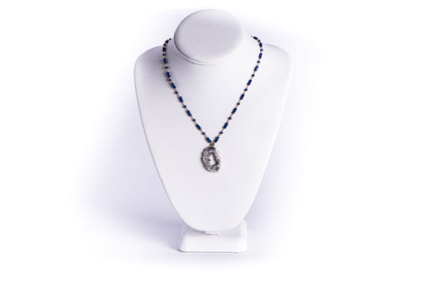 AZKI JEWELLERY - NECKLACE - LAPIS LAZULI WITH GEODE SLICE PENDANT