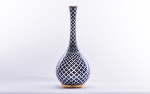 LALEZAR - VASE - NARROW BLUE/WHITE IZNIK