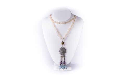 NADIA DAJANI - NECKLACE - FRESHWATER PEARLS WITH STERLING SILVER ARABESQUE PENDANT